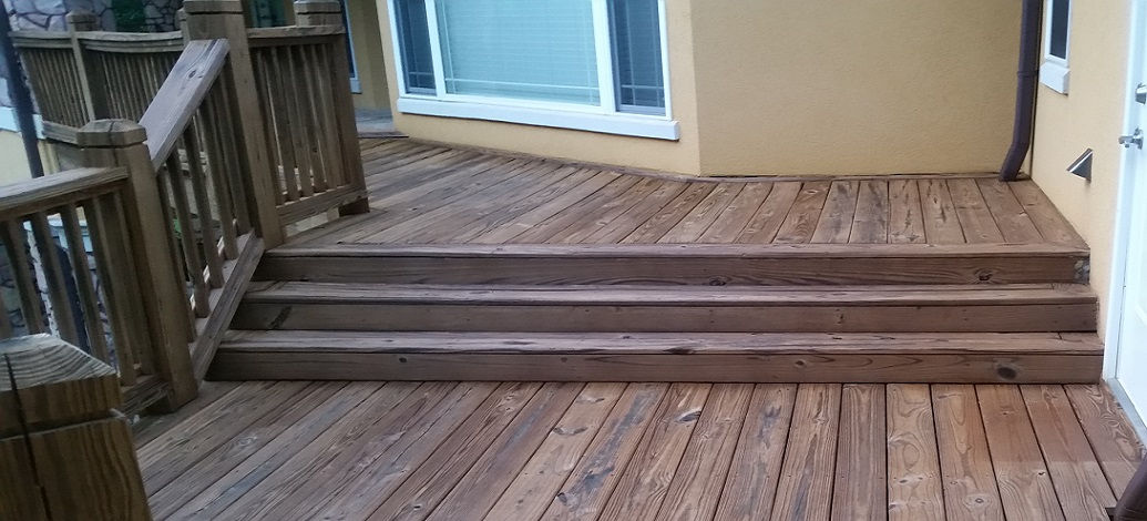 Wood deck stained