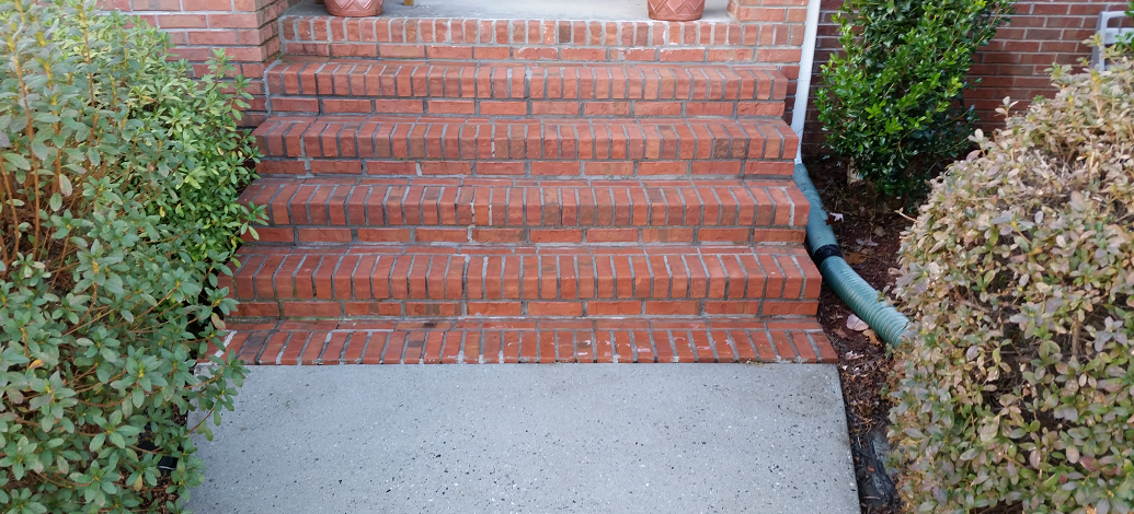 Removing the bacteria from the steps with a low pressure washing method