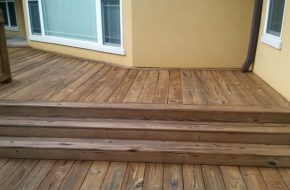 Natural honey stain to protect this wood against the elements. This deck was cleaned and stained in Newnan, Ga. South Arbor Shores