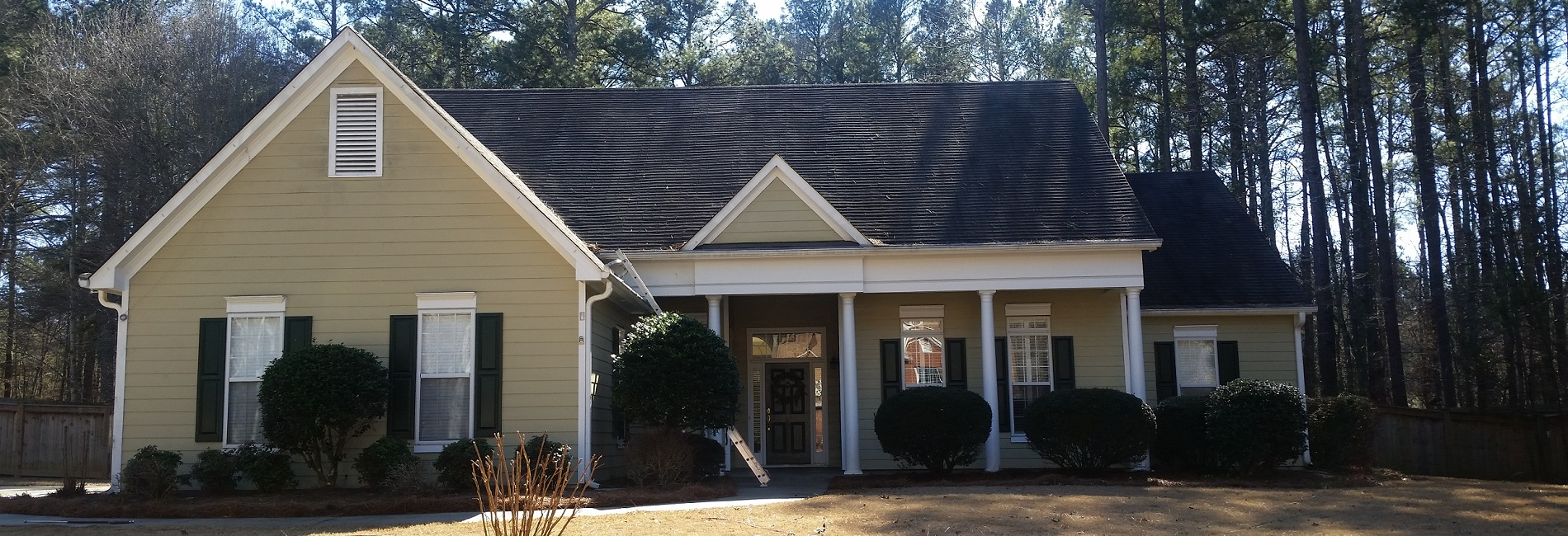 Peachtree City roof in need of roof washing to remove black stains